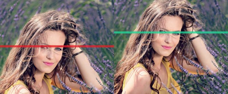 Umístění očí v horní třetině snímku.