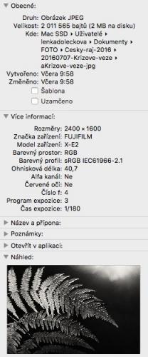Náhled EXIFu v počítači.